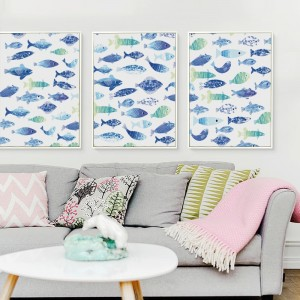 07G Nordic Many Fish Collection Link Painting A4 A3 Canvas Art Print Poster Photo Wall Living Room Room House Decorative Mural