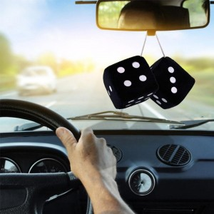 1 Pair Fuzzy Dice White Dots Rear View Mirror Hangers Vintage Car Pendant Interior Decoration Auto Accessories 6 Color