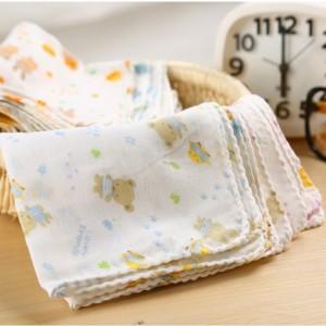 10PCS Baby Feeding Towel Teddy Bear Bunny Dot Chart Printed Children Small Handkerchief Gauze s Nursing  YYT308