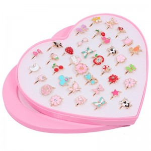 10Pcs/36pairs/Set Cute Children's Day Jewelry Plastic Kids Rings Girls With Mixed Korean Style Resin Alloy Without Box Randomly