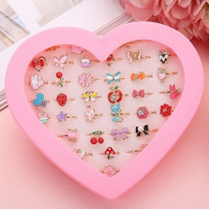 10pcs Cute Plastic Kids Rings Girls with Mixed Korean Style Resin Alloy Child Cartoon Rings Children's Day Jewelry Without Box