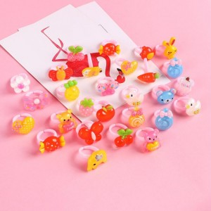12pcs Ring For Children Jewelry Fashion Colored Multicolor Ring Cute Girls Gifts  Lovely Fruit Scrub Animal Princess Suit Kinds