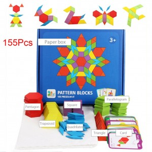 155Pcs Developmental Colorful Intelligence Learning Educational Toys Games IQ Pattern Wooden Block Set Shapes Dissection Home