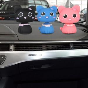 1PC Cat Head PVC Shaking Cute Figures Car Office Home Ornaments Dolls Cartoon Decorations Auto Interior Accessories