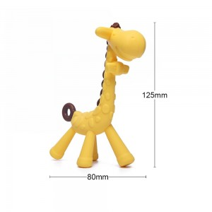 1PC Silicone Giraffe Baby Teether Animal Newborn Teething Toy Kids Care Organic Nursing Gift BPA Free Pacifier Chain Accessories