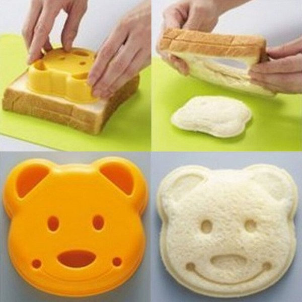 1Pcs Bear Bread Mould Cute Cartoon Plastic Embossed Bread Knife Rice Ball Lunch Mould Household Kitchen Supplies