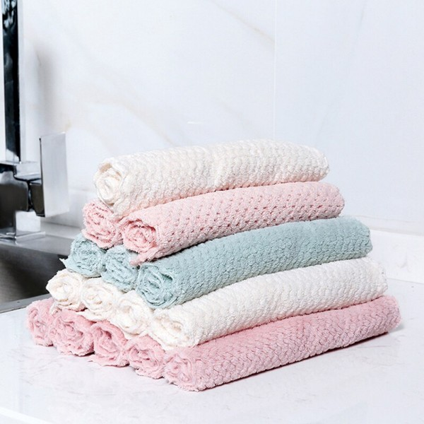 1Pcs For Household Kitchen Supplies Multi-function Anti-grease Pineapple Plaid Super Absorbent Washing Dish Towel Wiping Rags