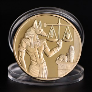 1pc Gold Plated Egypt Death Protector Anubis Coin Copy Coins Egyptian God Of Death Commemorative Coins Collection Gift