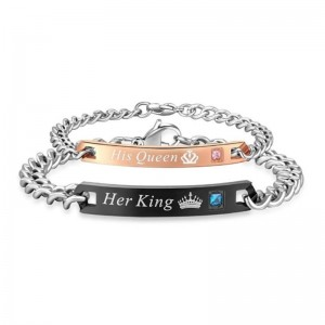 2 Style His Queen Her King Black Rose Gold Color Women's Male Chain Crystal Couple Bracelet for Men Femmo on Hands Jewelry Gift
