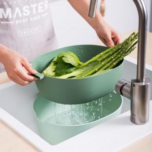 2000/5000ml Double Layer Kitchen Fruit Vegetable Rice Cleaning Washing Drain Storage Basket Household Kitchen Supplies