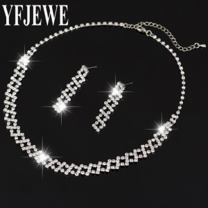 2017 Women New Fashion Jewelry Sets Nechlace And Wedding Bridal sliver plated Earrings Silver Plated Rhinestone For Party N201