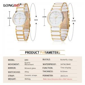 2018 New Luxury Brand LONGBO Mens Women Ceramic Watch Fashion Geneva Couple Watches Male Quartz Wrist watches relojes mujer 8493