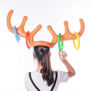 2018 Tops Quality Inflatable Reindeer Christmas Gifts Hat Antler Ring Toss Holiday Party Game Toys Gifts juguete Z*