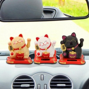 2.5 inch Car Accessories Cute Shaking Hands Lucky Cat Fortune Wealth Waving Figurines Ornament Auto Interior Decoration Craft