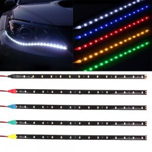 2PC 15 LEDs 30cm 1210 SMD LED Strip Light Flexible 12V Car Decor Waterproof Interior Accessories Ornaments Auto Decorative