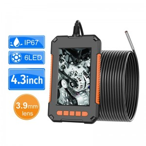 """3.9mm Industrial Endoscope Camera 1080P HD 4.3""""IPS Screen Pipe Drain Sewer Duct Inspection Camera IP67 Snake Camera WIth 6 LED"""