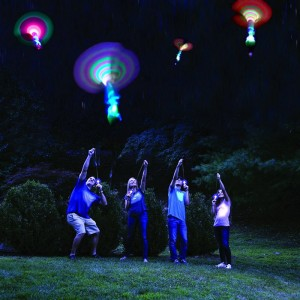 3pcs/lot Bamboo Dragonfly with light Shooting Rocket Flying parachute Sky UFO Outdoor night game toy for kid children