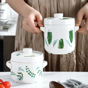 400/600ML Ceramic Stew Pot Double Cover Tableware Cooking Utensils Dessert Bowl Steamer Soup Cup Household Kitchen Supplies