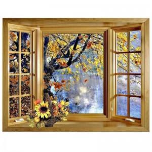 5D Diy Diamond Painting window outside tree lake scenery Cross Stitch Full Square  Round Drill Wall Arts & CraftsZP-2461