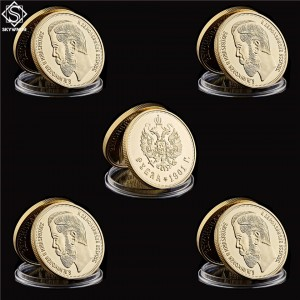 5PCS/Lot 1894-1917 Russian Emperor Nicholas II Gold Souvenir Token Russian Coin Collectibles