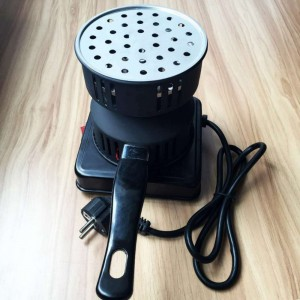 650W Metal Electric Charcoal Burner Including Removable Tray + Tongs Thickened Charcoal Stove for Household Kitchen Appliances