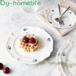 6/8/9 Inch  Ceramic Dinner Plates Japanese-style Relief Swallow Dessert Plate Cake Dish Restaurant Household Kitchen Supplies