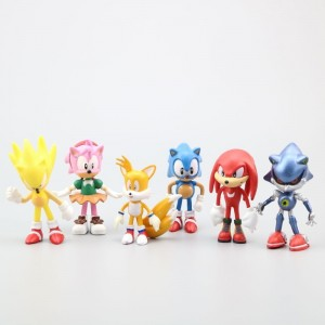 6pcs/set Sonic Games Model Dolls Supersonic Cartoon Toys Hedgehog Character Anime Figure Birthday Gifts Decoration