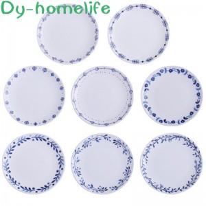 8 Inch Round White Leaf Simple Home Ceramic Bone China Dish Multifunctional Storage Household Kitchen Supplies
