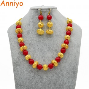 Anniyo 46cm + 10cm Beads Necklace and Earrings for Women Fashion Gold Color Ball Jewelry Fashion Party sets  #063906