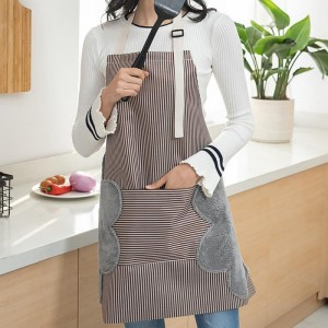 Apron With Side Wipes Absorb Water Waterproof Adjustable Buckle Oxford Cloth Big Pocket Apron Household Kitchen Supply TSLM1