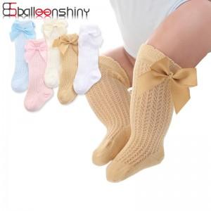 BalleenShiny Baby Girl Socks Toddler Baby Bow Cotton Mesh Breathable Socks Newborn Infant Non-slip Baby Girls Socks 0-3 years