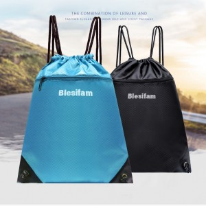 Blesifam Drawstring sports backpack waterproof simple men and women outdoor travel folding storage bag