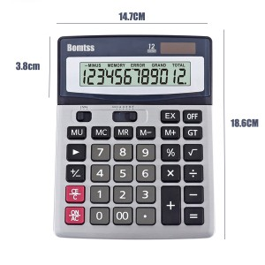 Bomtss 12 Digit Solar Power Electronic Office Calculator