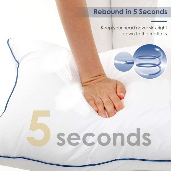 Caladbolg Hypoallergenic Pillow for Side and Back Sleeper Fluffy Queen Size Sleeping Pillow for Neck Pain Relief