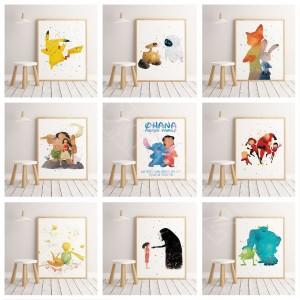 Cartoon collection watercolor poster print children's room decoration Nursery Kids Room Cartoon Art Decor canvas painting A482