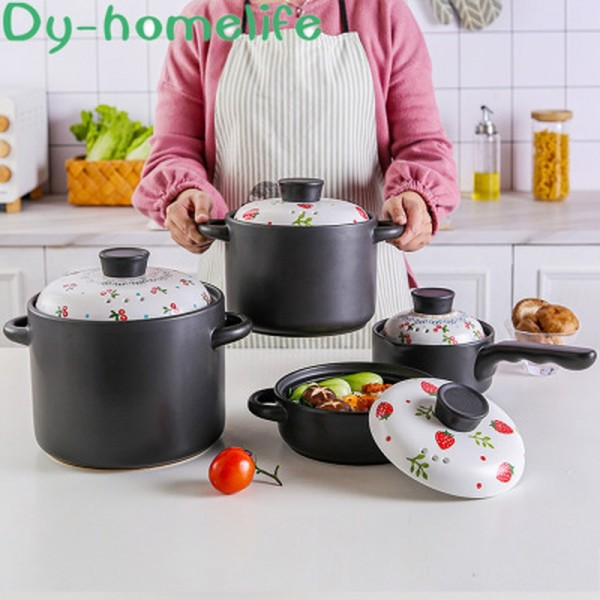 Ceramic Casserole Gas Cooker White Strawberry 4L Multifunction Soup Pot Saucepan Pan Household Kitchen Supplies Cooking Utensils