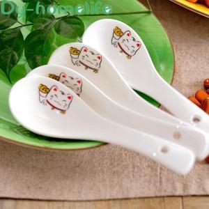 Ceramic Soup Spoon 14cm Japanese White Lucky Cat Bone China Dinnerware Restaurant Household Kitchen Supplies Tableware