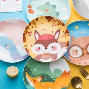 Children's Ceramic Dinner Plate Cartoon Animation Bone China Round Bowl Household Kitchen Supplies Creative Cute Fruit Plate