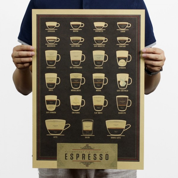 Coffee Beer Weapon Wine Collection Poster Cafe Bars Kitchen Decor Poster Adornment Vintage Poster Retro Wall Art Kraft Stickers