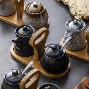 Creative Japanese seasoning jar set soy sauce pot vinegar bottle household kitchen supplies oil salt tank combination