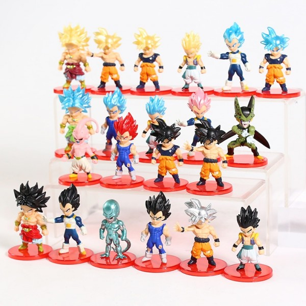 Dragon Ball Z Figures Son Goku Gohan Vegeta Trunks Buu Broly Freeza Anime DBZ Model Toys PVC Collectible Figurines 21pcs/set