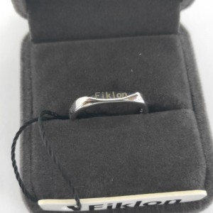 Feeyios sterling silver flat ring with   adjustable opening, with black gift box