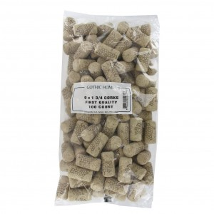 GOTHIC HOME 9x1 3/4 First Quality Straight Wine Corks 44 X 23mm 100/Bag