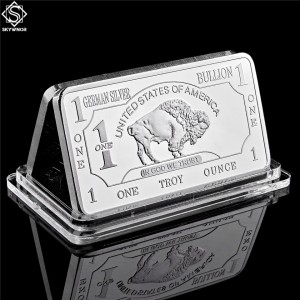 German Mint 1 Troy Ounce Buffalo German Silver Bullion Bar Replica Coins Collection