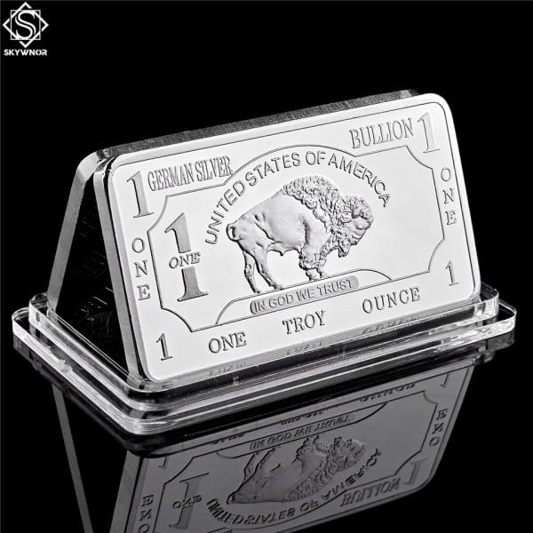 German Mint 1 Troy Ounce Buffalo German Silver Bullion Bar Replica Coins Collection