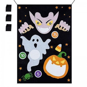 Halloween Outdoor Games 1 Pc Vampire Felt Banner With 3 Pcs Bean Bags Throwing Game Hanging Non-woven Toys