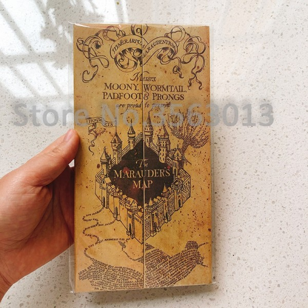 Harried Potters Hogwart School Ticket The Marauder's Map Wizard School Collection Quality Kraft Paper Golden Stamping Gift