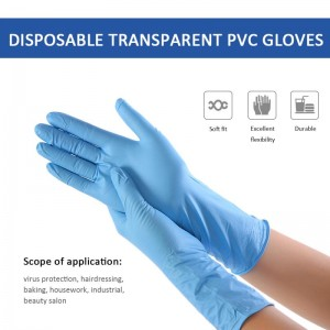 Hot Blue 100pcs Long Rubber Disposable PVC Gloves Oil-proof Waterproof Thin Latex Ultra-thin Gloves Household Kitchen Supplies