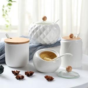 Household Kitchen Supplies Salt Shaker Ceramic Wooden Lid Seasoning Jar Olive Oil Bottle Sugar Bowl Kitchen Seasoning Tool