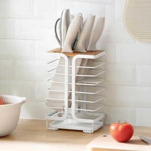 Household kitchen supplies stove without punching multifunction put vegetable cutter rack storage hanger 8Slot Knife DryingStand